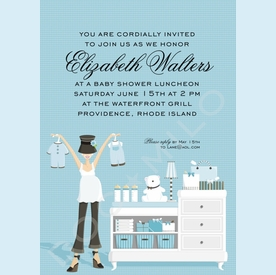 Blue Changing Table Shower Invitation - click to enlarge
