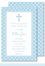 Blue Cross with Diamond Pattern Large Flat Invitation