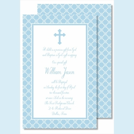 Blue Cross with Diamond Pattern Large Flat Invitation - click to enlarge