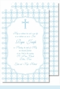 Blue Cross with Tile Pattern Large Flat Invitation