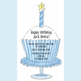 Blue Cupcake Invitation - click to enlarge