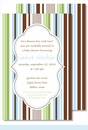 Blue/Green/Brown Stripes Large Flat Invitation