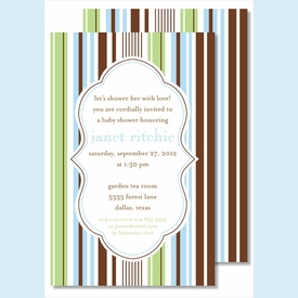 Blue/Green/Brown Stripes Large Flat Invitation - click to enlarge