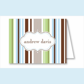Blue/Green/Chocolate Stripes Note Cards - click to enlarge
