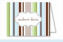 Blue/Green/Chocolate Stripes Note Cards