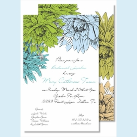 Blue/Green Mums Large Flat Invitation - click to enlarge