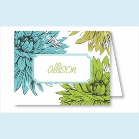 Blue/Green Mums Note Cards - click to enlarge