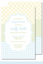 Blue/Green/Yellow Crazy Quilt Large Flat Invitation