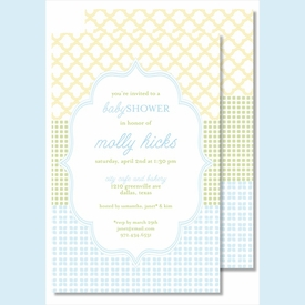 Blue/Green/Yellow Crazy Quilt Large Flat Invitation - click to enlarge