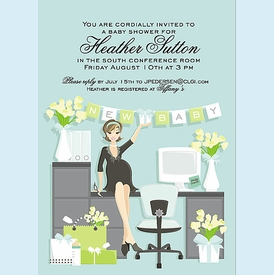 Blue Heather Baby Shower Invitation - click to enlarge
