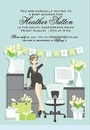 Blue Heather Baby Shower Invitation
