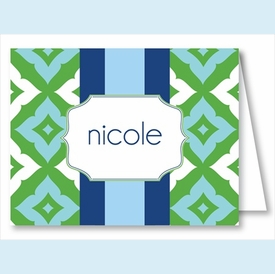 Blue/Kelly Fancy Diamond Stripe Note Cards - click to enlarge