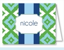 Blue/Kelly Fancy Diamond Stripe Note Cards