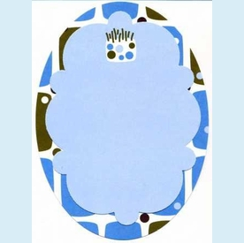 Blue Squares Birthday Oval Invitation - click to enlarge