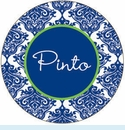 Blue Toile Personalized Magnet