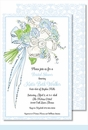 Bouquet Blue Large Flat Invitation