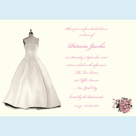Bridal Dress & Bouquet Invitation - click to enlarge