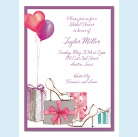 Bridal Shoes and Balloons Invitation - click to enlarge
