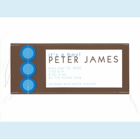 Brown & Blue Stitched Invitation - click to enlarge