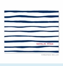 Brush Stripe Navy Folded Notes (set/25)