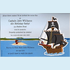 Buccaneer Pirate Ship Invitation - click to enlarge