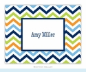 Chevron Blue Orange & Lime Folded Notes (set/25)