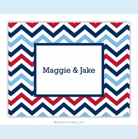Chevron Blue & Red Folded Notes (set/25) - click to enlarge
