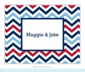 Chevron Blue & Red Folded Notes (set/25)