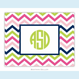 Chevron Pink Navy & Lime Folded Notes (set/25) - click to enlarge