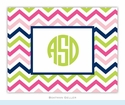 Chevron Pink Navy & Lime Folded Notes (set/25)