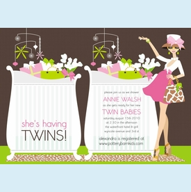 Chic Crib Mom Pink Twins Invitation - click to enlarge