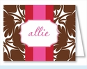 Chocolate Bold Floral w/Red/Hot Pink Stripe Note Cards