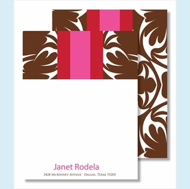 Chocolate Bold Floral w/Red/Hot Pink Stripe Small Flat Cards - click to enlarge