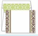 Chocolate Greek Key Border Small Flat Cards w/Coordinating Liner