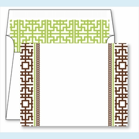 Chocolate Greek Key Border Small Flat Cards w/Coordinating Liner - click to enlarge
