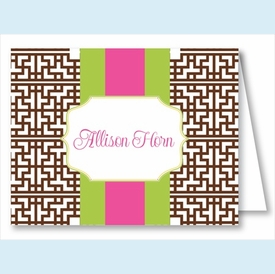 Chocolate Greek Key w/Lime/Hot Pink Stripe Note Cards - click to enlarge