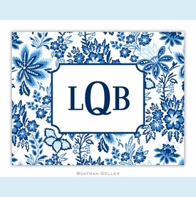 Classic Floral Blue Folded Notes (set/25) - click to enlarge