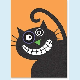 Crazy Smiling Cat Halloween Card - click to enlarge