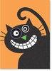 Crazy Smiling Cat Halloween Card