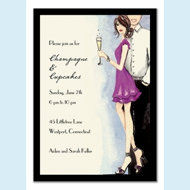 Cute Champagne Couple Invitation - click to enlarge