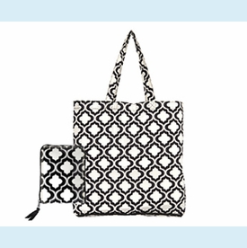 Darcey Black Quatrefoil Wrap Tote - click to enlarge