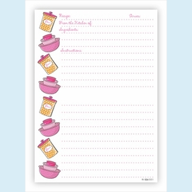 Double Recipe Card - Bowls & Canisters, Orange & Pink - click to enlarge