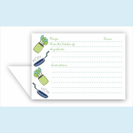 Double Recipe Card - Pan & Spoons, Navy & Lime - click to enlarge