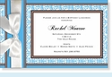 Elegant Blue & Brown w/Bow Invitation