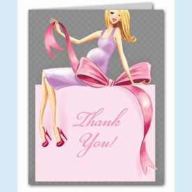 Expecting a Big Gift Thank You Notes (Girl/Blonde) - click to enlarge