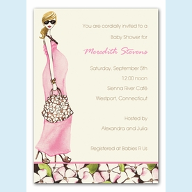 Fashionable Mom Pink Invitation (Blonde) - click to enlarge