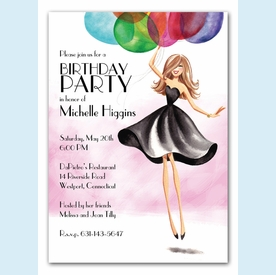 Floating Party Girl Invitation - click to enlarge