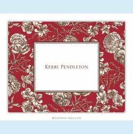 Floral Toile Red Folded Notes (set/25) - click to enlarge