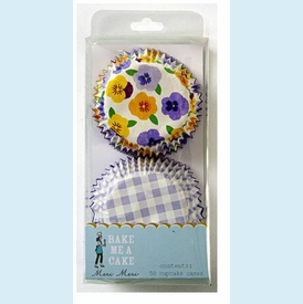 Gingham and Pansy Pattern Cupcake Cases - click to enlarge