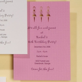 Girlfriends Pink Lasercut Invitation - click to enlarge